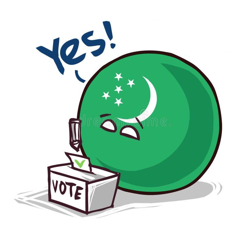 土库曼斯坦投赞成票国家的球 向量例证