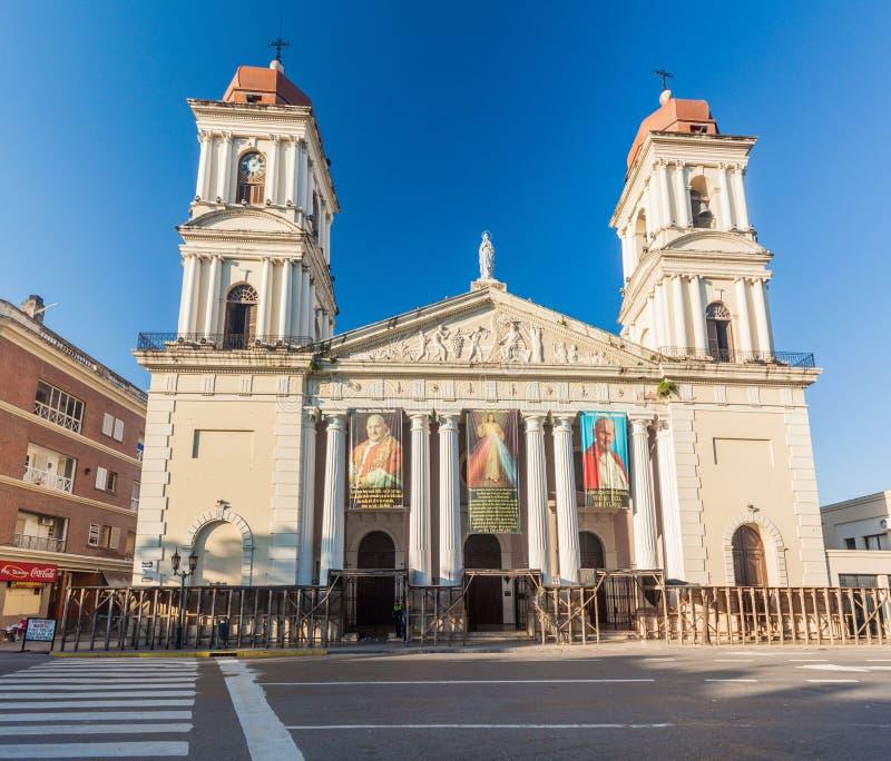 土库曼,阿根廷- 2015年4月4日:大教堂在圣米格尔-德图库曼市,Argenti 免版税库存图片