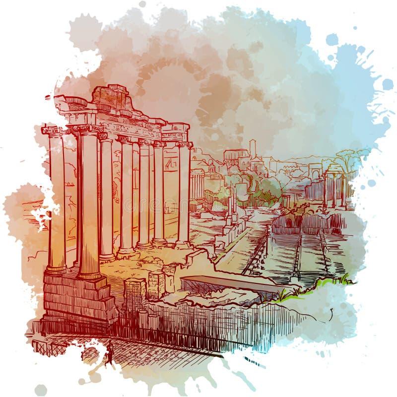 土星庙前的皇家论坛 罗马,意大利 库存图片