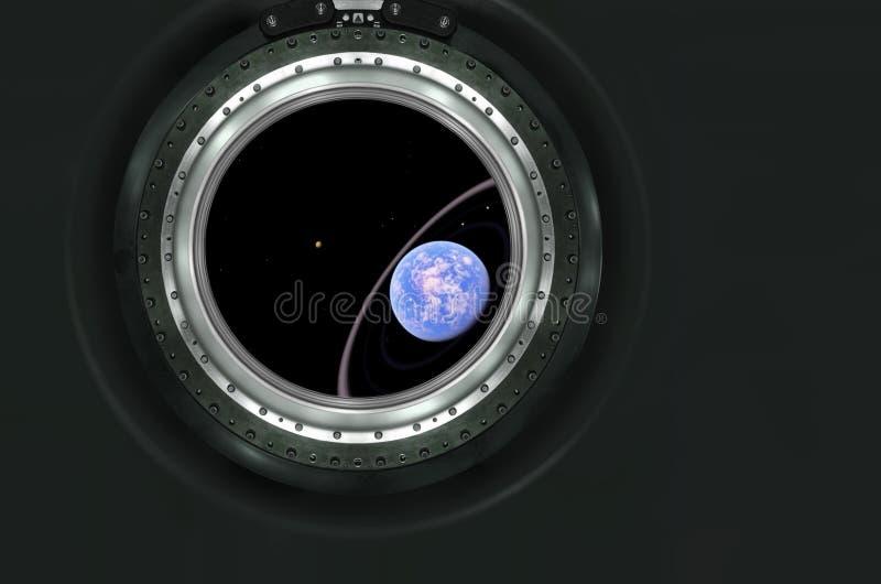 土星或外籍人从太空飞船的行星视图 图库摄影