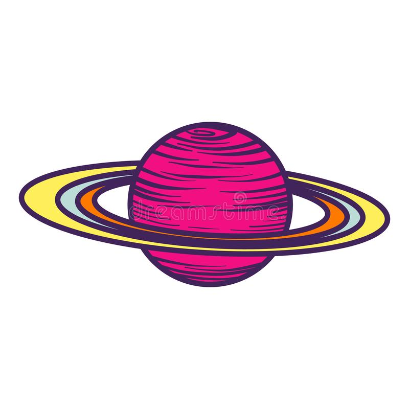 土星行星象,手拉的样式 向量例证