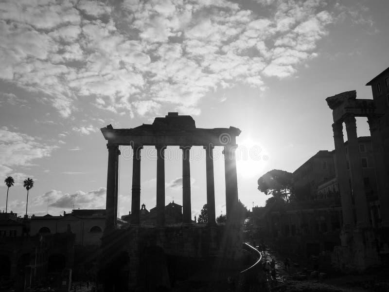 土星,罗马寺庙  库存照片