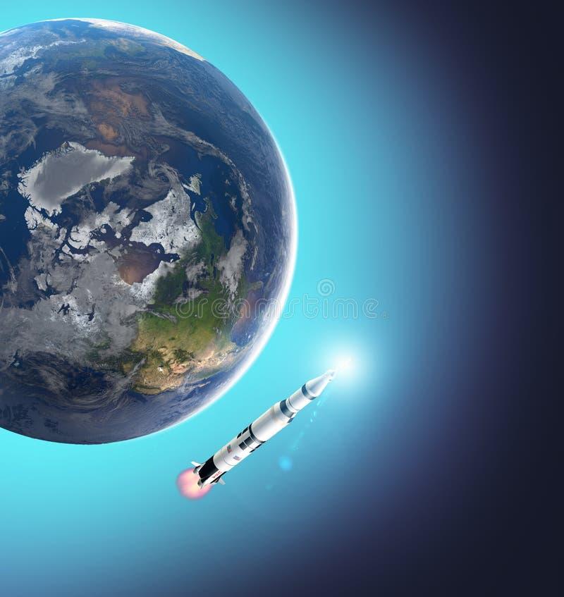 土星5号火箭的发射往月亮的,登月的第五十周年 阿波罗使命11 地球和空间 库存例证