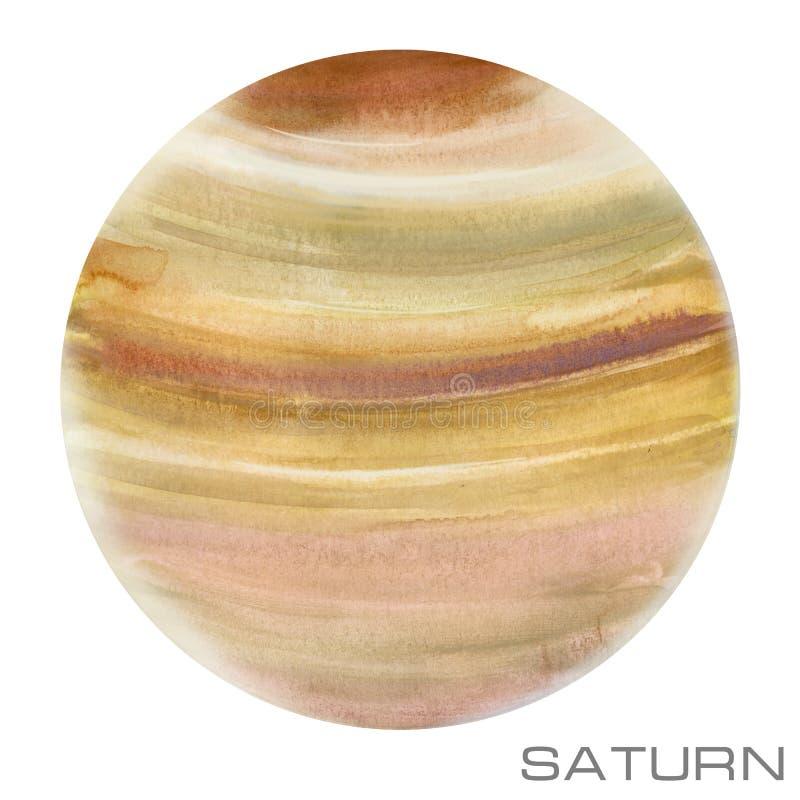 土星 土星水彩背景 免版税库存照片