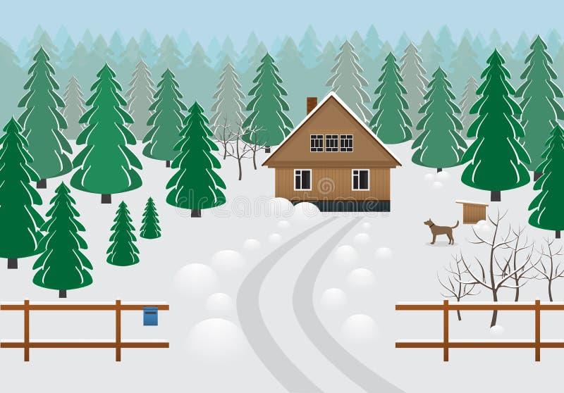 土气木房子在一个森林区域在冬天 向量例证