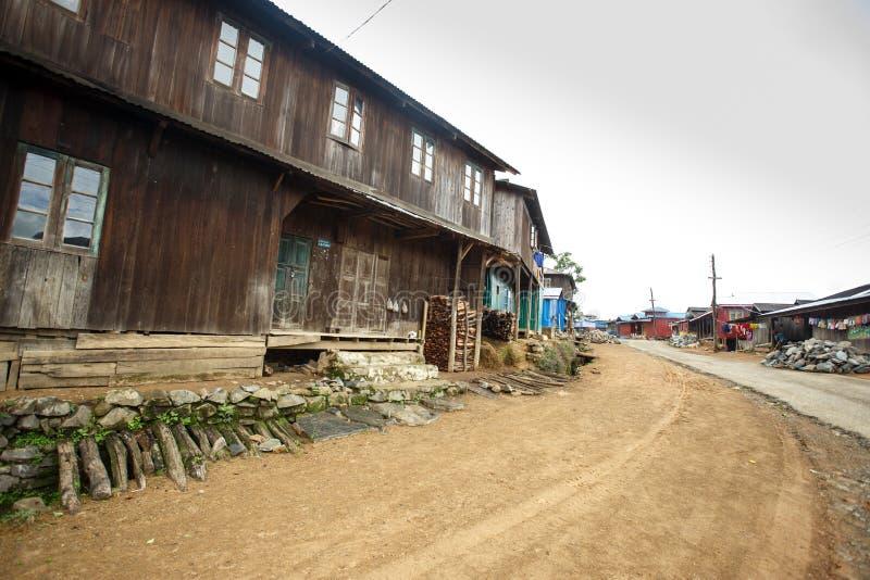 土气村庄在缅甸 库存照片