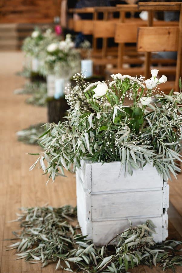 土气样式的婚礼区域 婚姻的宴会 免版税库存图片