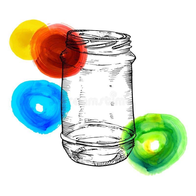 土气的泥工和手拉装于罐中的瓶子 库存例证