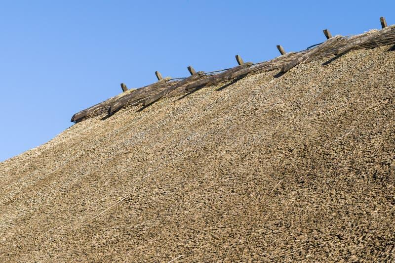 土气秸杆屋顶特写镜头 免版税图库摄影