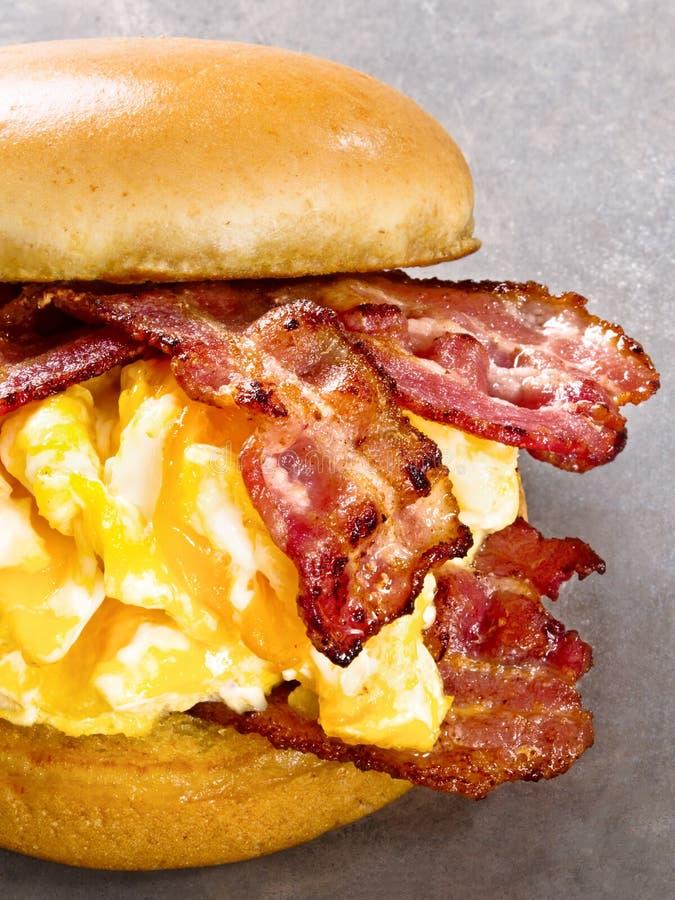 土气美国烟肉鸡蛋和乳酪三明治 库存照片