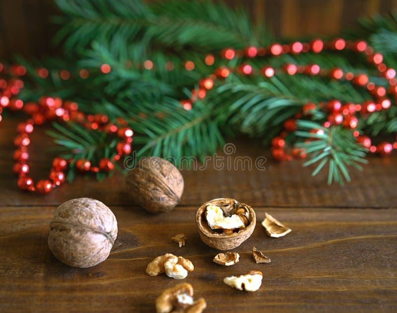 土气背景用核桃、杉树分支和红色小珠球圣诞装饰 您能为一张贺卡使用它或 免版税图库摄影