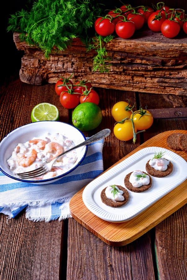 土气螃蟹沙拉 库存图片