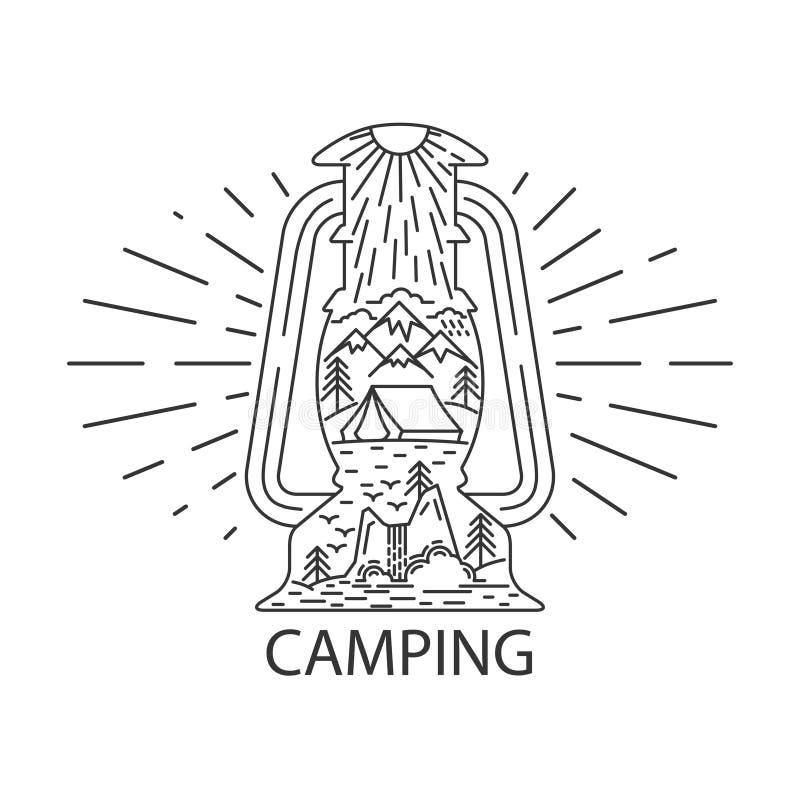土气野营的灯笼 皇族释放例证