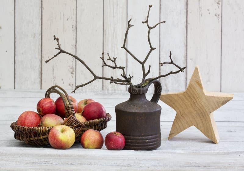 土气decoraton用苹果、木星和枝杈在一个花瓶在白色木背景 免版税库存照片