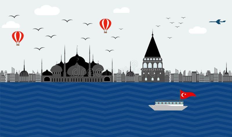 土耳其伊斯坦布尔的堤防的美丽的景色蓝色的 向量例证