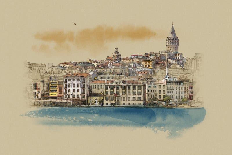 土耳其伊斯坦布尔,在老纸的图表 皇族释放例证
