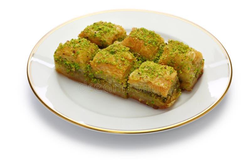 土耳其传统点心,开心果果仁蜜酥饼 免版税库存照片