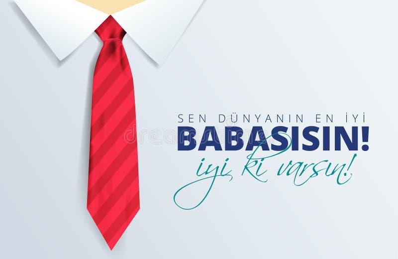 土耳其假日'Babalar Gunu'翻译:愉快的父亲节书法贺卡 r 皇族释放例证