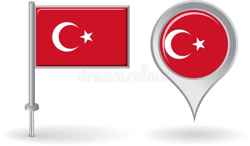 土耳其别针象和地图尖旗子 向量 皇族释放例证