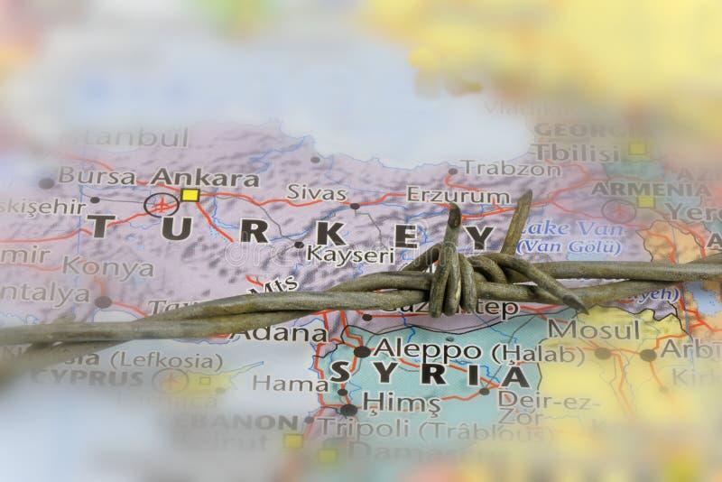 土耳其和叙利亚边界 免版税库存照片