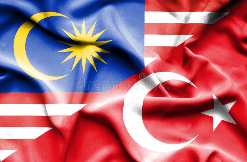 土耳其和马来西亚的挥动的旗子 向量例证