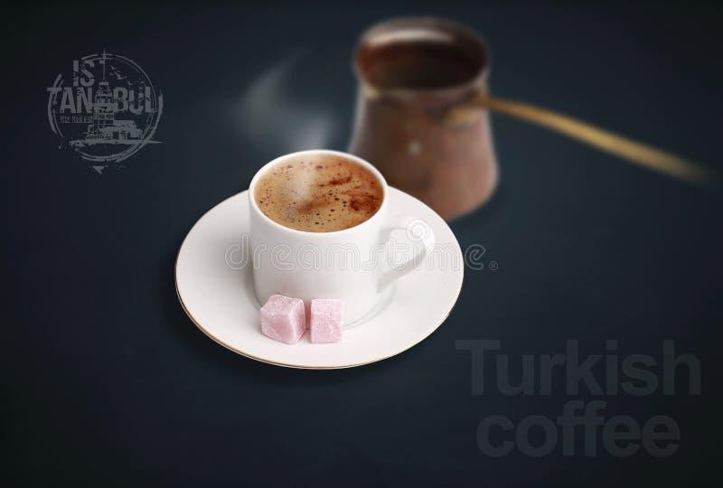 土耳其咖啡以土耳其快乐糖 免版税图库摄影