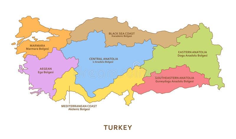 土耳其地区,传染媒介地理背景 向量例证