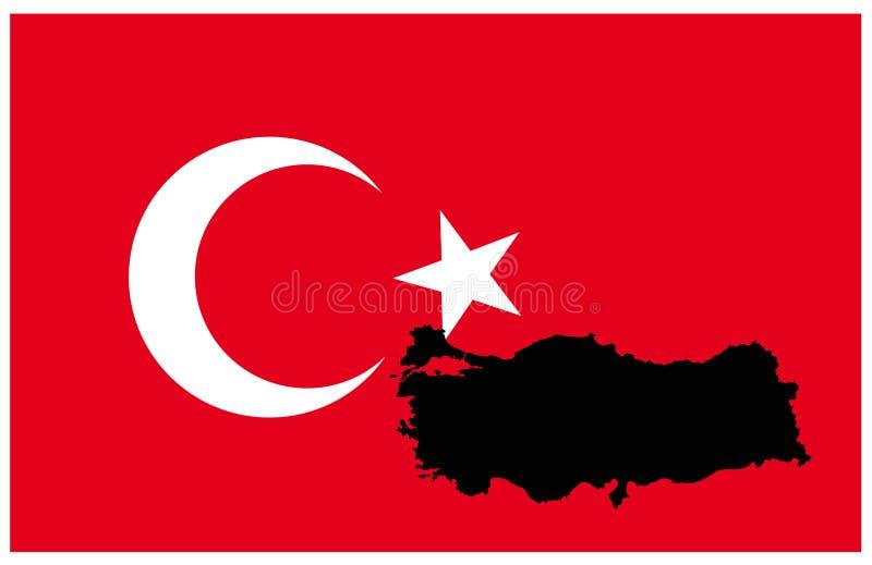 土耳其地图和旗子-横贯大陆的国家在欧亚大陆 向量例证