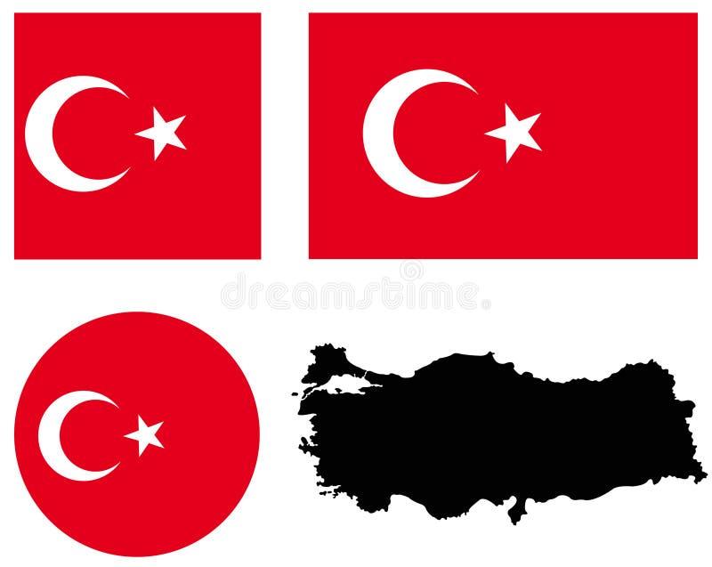 土耳其地图和旗子-横贯大陆的国家在欧亚大陆 皇族释放例证
