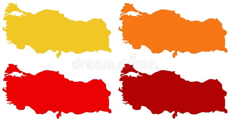土耳其地图-横贯大陆的国家在欧亚大陆 向量例证