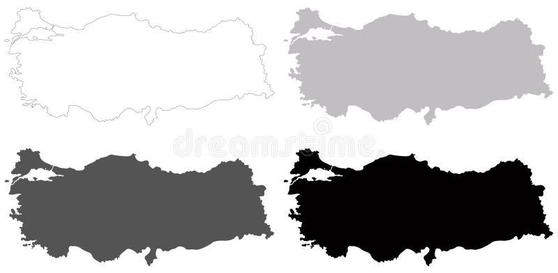 土耳其地图-横贯大陆的国家在欧亚大陆 库存例证