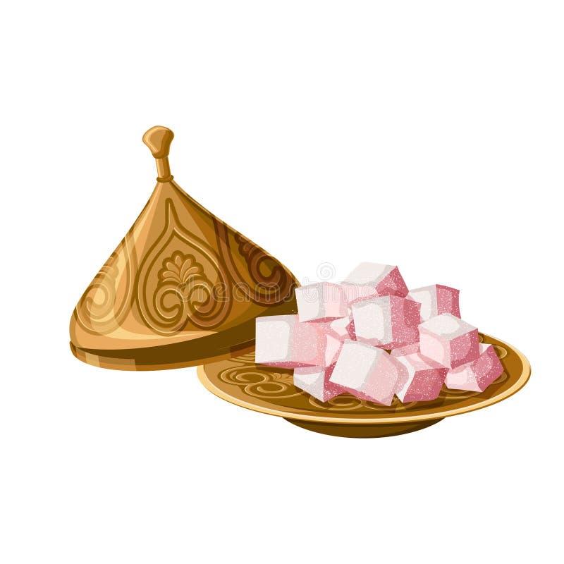 土耳其快乐糖,临时代理,在装饰的铜版的传统甜点有在白色背景隔绝的盖帽的 皇族释放例证