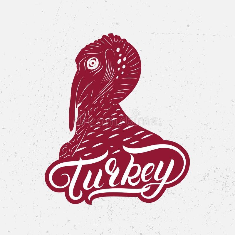 土耳其手书面lettring的商标,标签 向量例证
