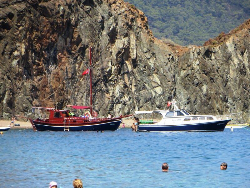 土耳其有趣船的旅行学习游泳的历史 免版税库存照片