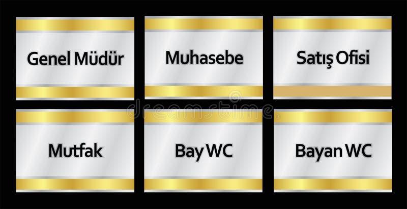 土耳其标志模型,genel mà ¼ dà ¼ r,muhasebe,satış ofisi,mutfak,海湾wc,bayan wc -翻译:总经理 向量例证