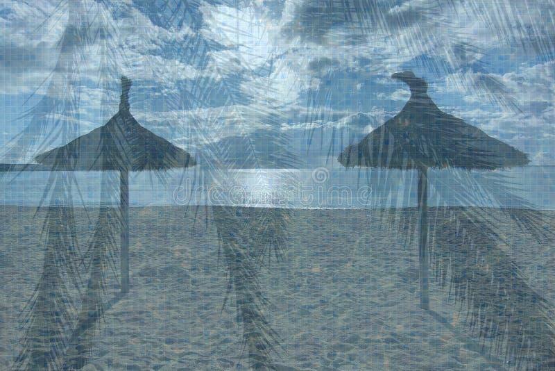 土耳其玉色水池水表面背景,棕榈叶和两使遮阳伞靠岸 库存照片