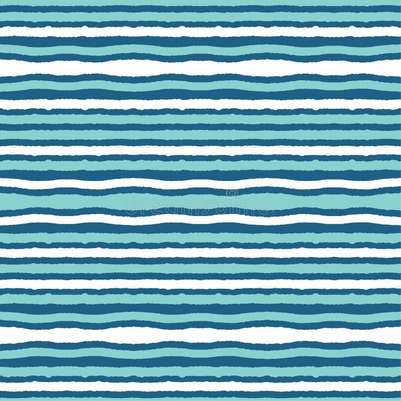 土耳其玉色海浪无缝的传染媒介样式 手拉的海边海滩水瓦片 在印刷品的波浪水色航海的 向量例证