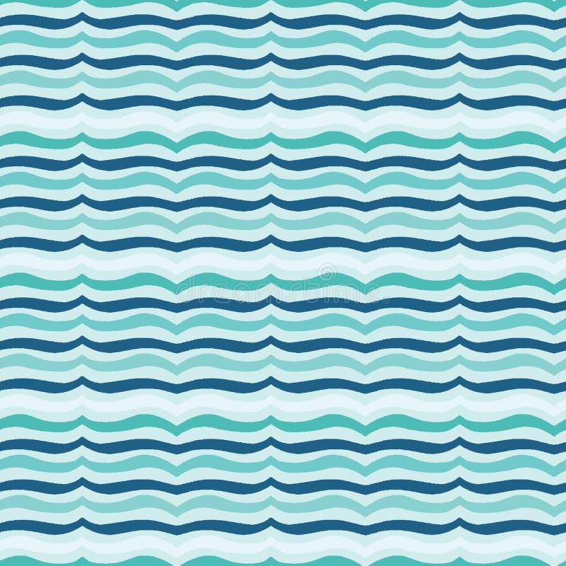 土耳其玉色海浪无缝的传染媒介样式 手拉的海边海滩水瓦片 在印刷品的波浪水色航海的 库存例证