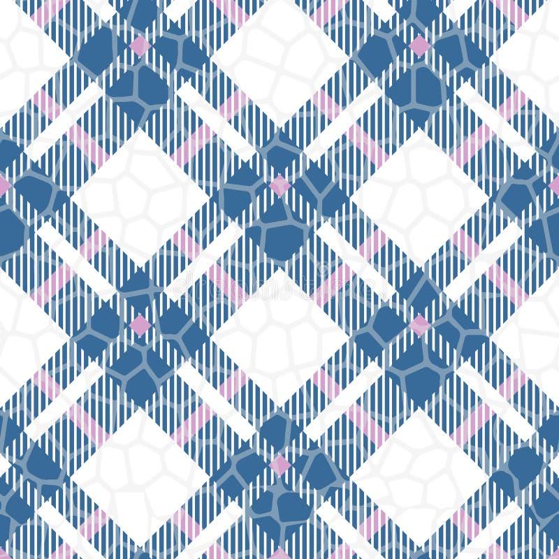 土耳其玉色,红色和白色颜色格子呢无缝的传染媒介样式 方格的格子花呢披肩纹理 几何简单的方形的背景 向量例证