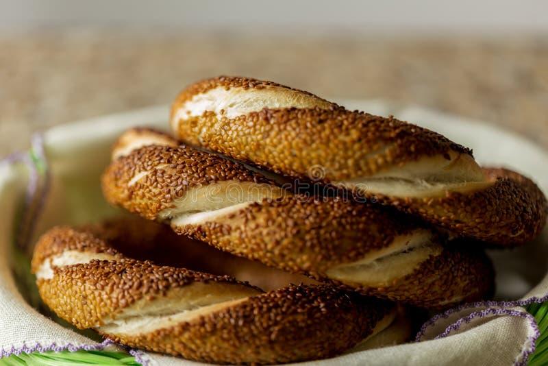 土耳其百吉饼和x28;simit 库存图片