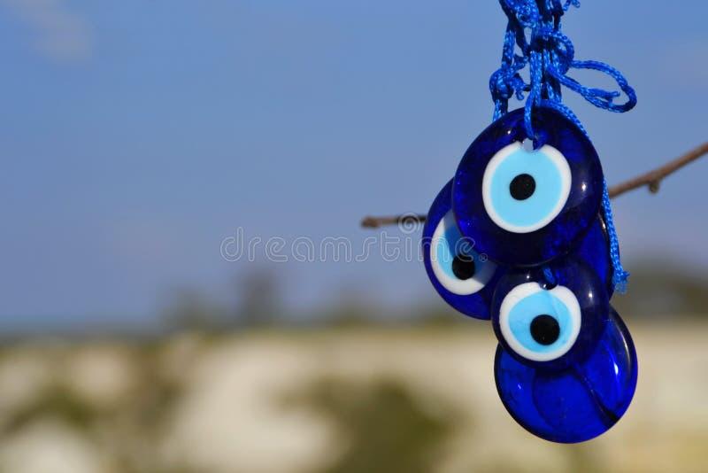 土耳其的凶眼,眼睛土耳其护身符,cappadocia,火鸡 库存照片