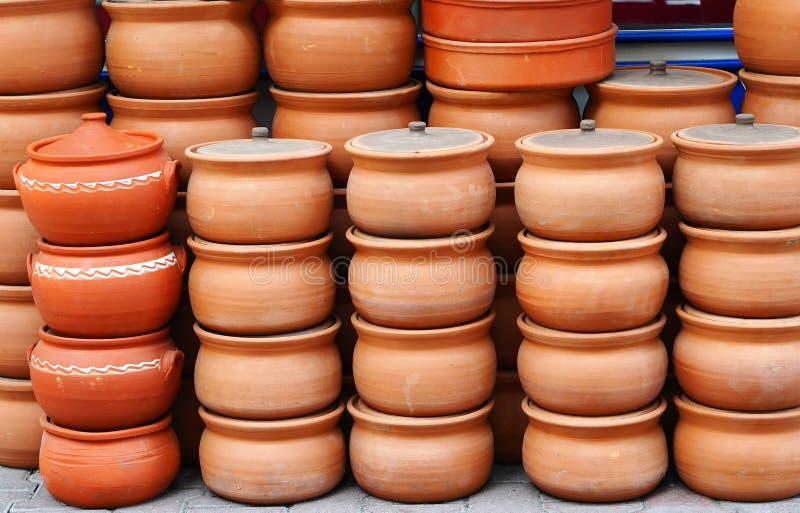 土耳其罐由黏土制成 库存照片