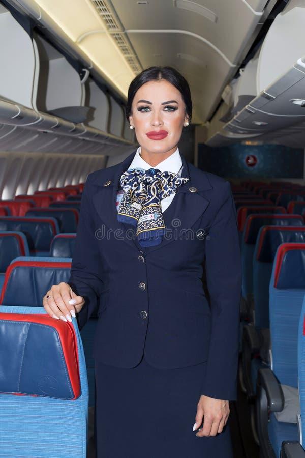 土耳其航空波音777-300ER机舱乘员组 免版税库存图片