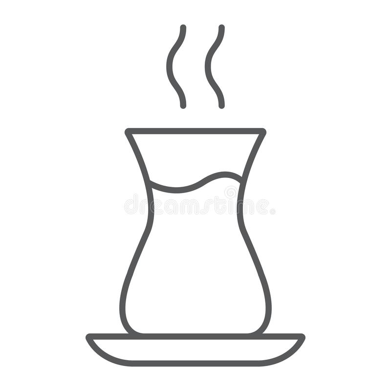 土耳其茶稀薄的线象,阿拉伯人和饮料,东部茶杯标志,向量图形,在白色背景的一个线性样式 库存例证
