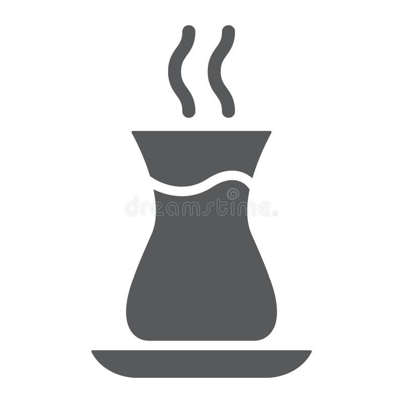 土耳其茶纵的沟纹象、阿拉伯人和饮料,东部茶杯标志,向量图形,在白色背景的一个坚实样式 向量例证
