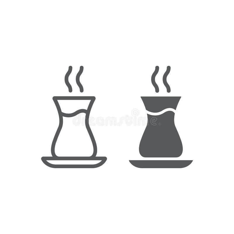 土耳其茶线和纵的沟纹象、阿拉伯人和饮料,东部茶杯标志,向量图形,在白色的一个线性样式 皇族释放例证