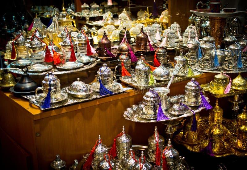 土耳其茶罐在伊斯坦布尔 库存图片