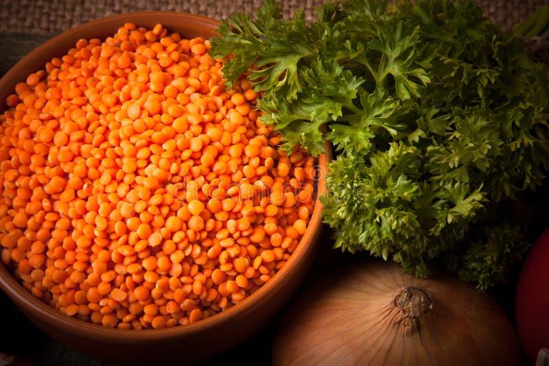 土耳其蔬菜汤的成份用红色小扁豆,说谎  免版税图库摄影