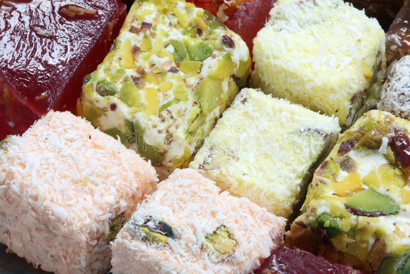土耳其被分类的欢欣的甜点 库存图片
