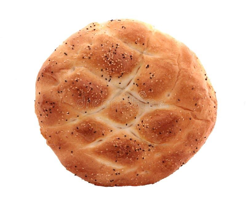 土耳其语,赖买丹月皮塔饼面包,隔绝在白色 免版税库存图片